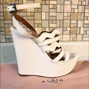 Auth. ALAiA Ivory Cut Out Platform Wedge Sandals